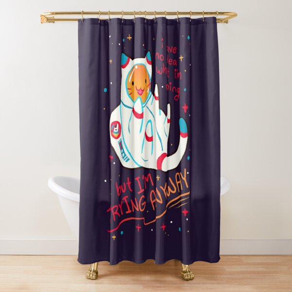 """""""I'M TRYING ANYWAY"""" Catstronaut Shower Curtain"""