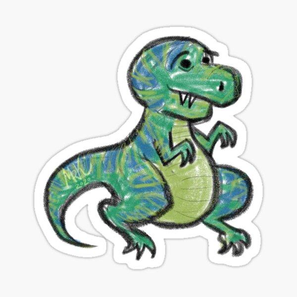 Silly Cute Dinosaur, T-Rex Cartoon Sticker