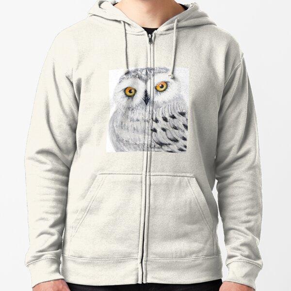 Snowy Owl / Digital Art Zipped Hoodie