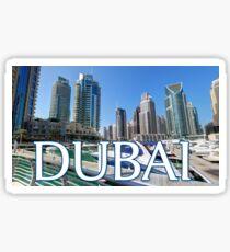 Dubai UAE Yacht Marina Postcard Sticker Sticker