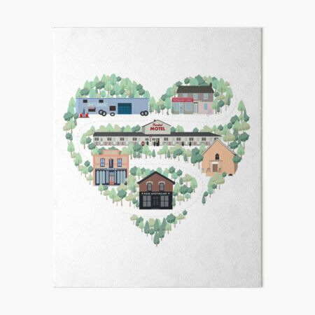I Love the Town of Schitt's Creek, where everyone fits in. From the Rosebud Motel to Rose Apothecary, a drawing of the Schitt's Creek Buildings Art Board Print