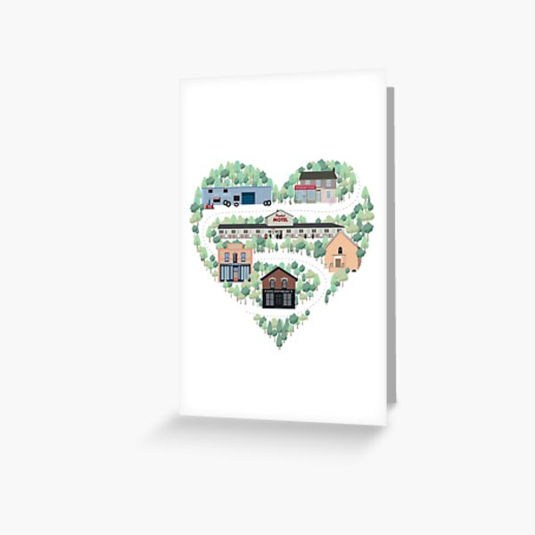 I Love the Town of Schitt's Creek, where everyone fits in. From the Rosebud Motel to Rose Apothecary, a drawing of the Schitt's Creek Buildings Greeting Card