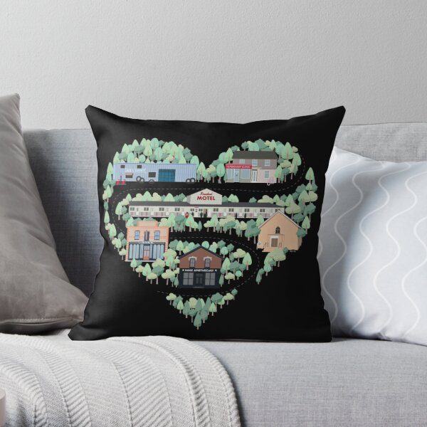 I Love the Town of Schitt's Creek, where everyone fits in. From the Rosebud Motel to Rose Apothecary, a drawing of the Schitt's Creek Buildings Throw Pillow
