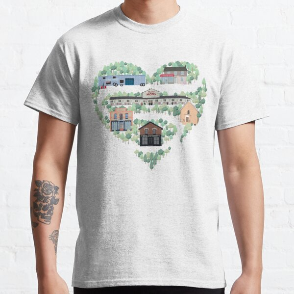 I Love the Town of Schitt's Creek, where everyone fits in. From the Rosebud Motel to Rose Apothecary, a drawing of the Schitt's Creek Buildings Classic T-Shirt