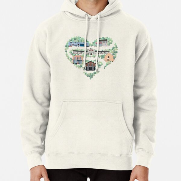 I Love the Town of Schitt's Creek, where everyone fits in. From the Rosebud Motel to Rose Apothecary, a drawing of the Schitt's Creek Buildings Pullover Hoodie
