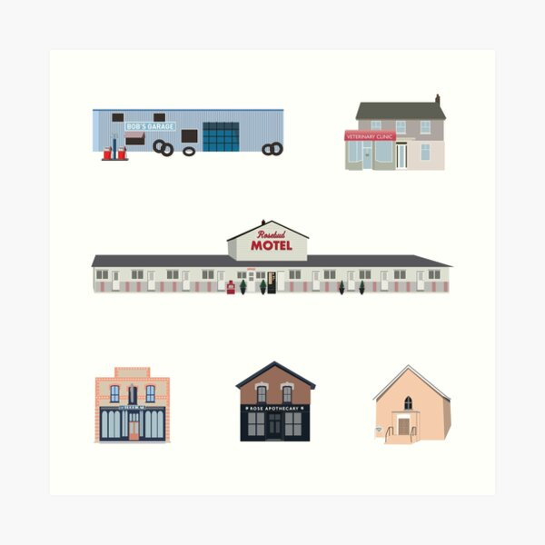 The Schitt's Creek Buildings, from the Rosebud Motel to Rose Apothecary Art Print