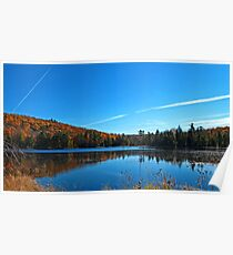 Fall Forest Scene with Orange Leaves - Autumn Lake Reflection under a Blue Sky Poster