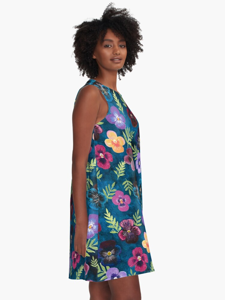 Alternate view of Colorful Pansies A-Line Dress