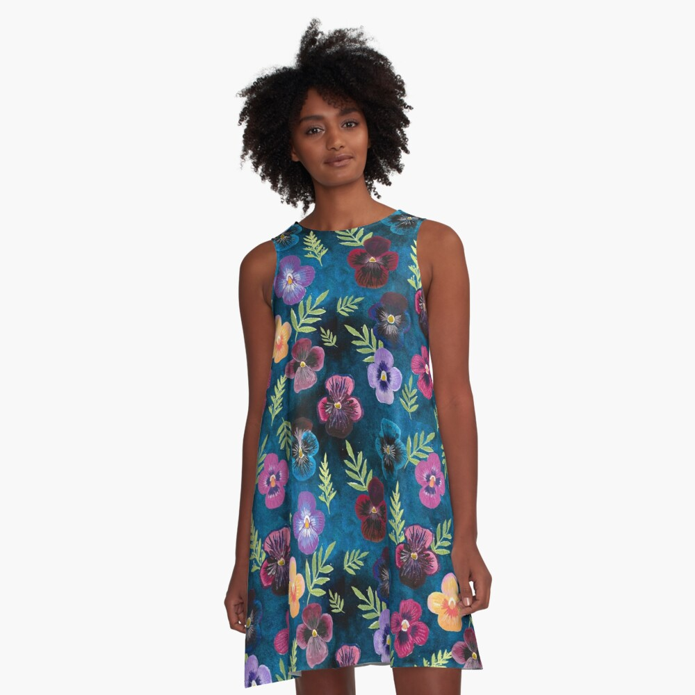 Colorful Pansies A-Line Dress