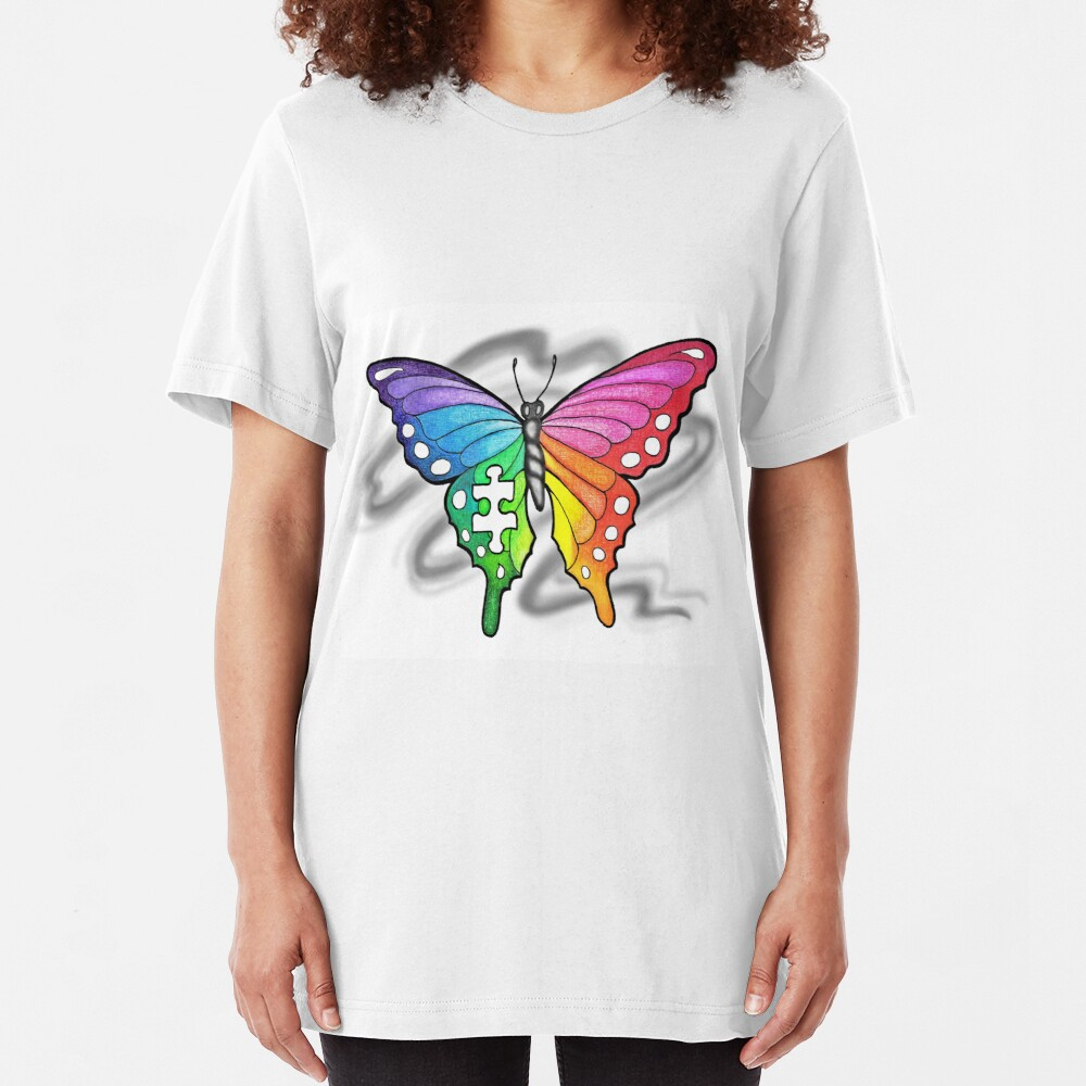 Rainbow Puzzle Butterfly ~ Autism Awareness Design Slim Fit T-Shirt