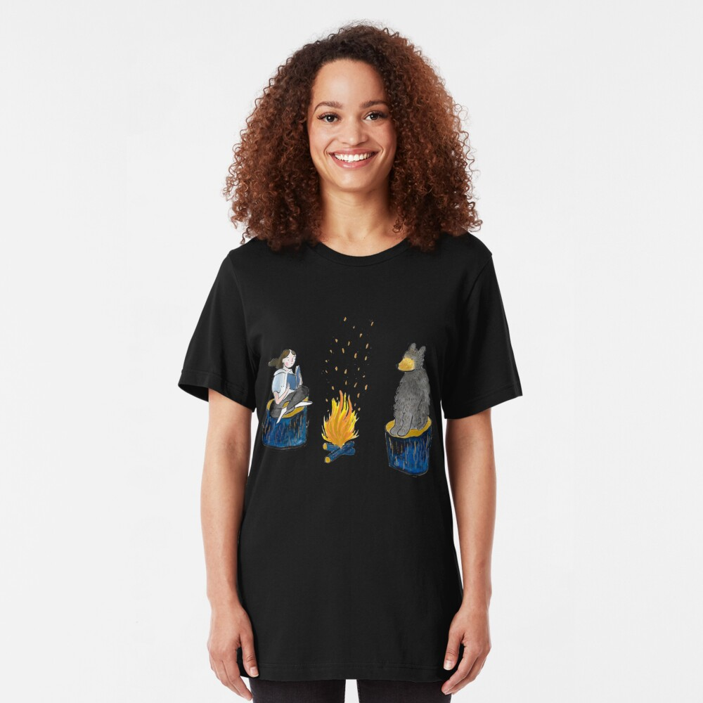 Bear and Girl by Campfire Slim Fit T-Shirt