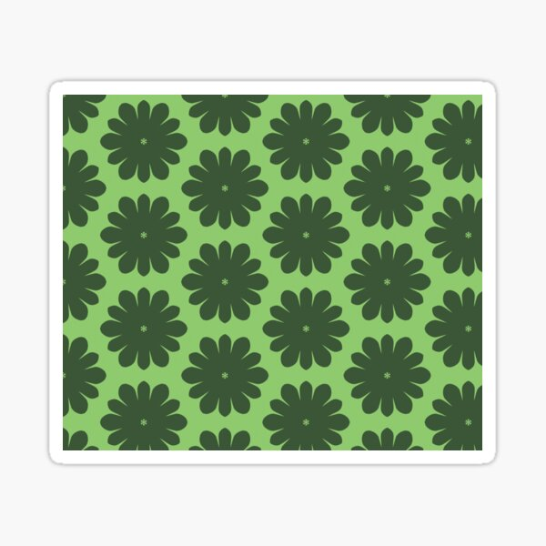 Monochrome Green Flower Pattern Sticker