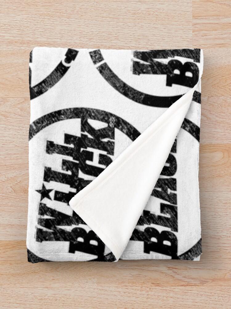 Alternate view of WB Inner Circle BLACK (center ice logo) Throw Blanket