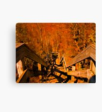 Old Wooden Staircase ~ Trees with Orange Leaves in a Mystical Forest ~ Fall Autumn Scenery Canvas Print