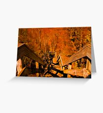 Old Wooden Staircase ~ Trees with Orange Leaves in a Mystical Forest ~ Fall Autumn Scenery Greeting Card
