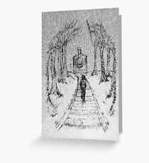 Wooden Railway , Pencil illustration railroad train tracks in woods, Black & White drawing Landscape Nature Surreal Scene Greeting Card