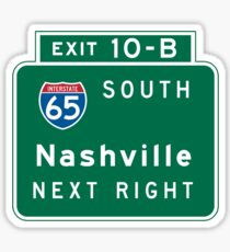 Nashville, TN Road Sign, USA Sticker