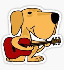 Funny Yellow Labrador Retriever Playing Guitar Sticker