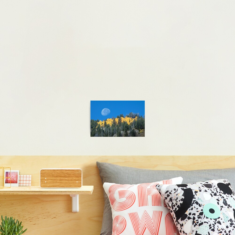 Moonset Over Fall Colors in Jackson Hole Photographic Print