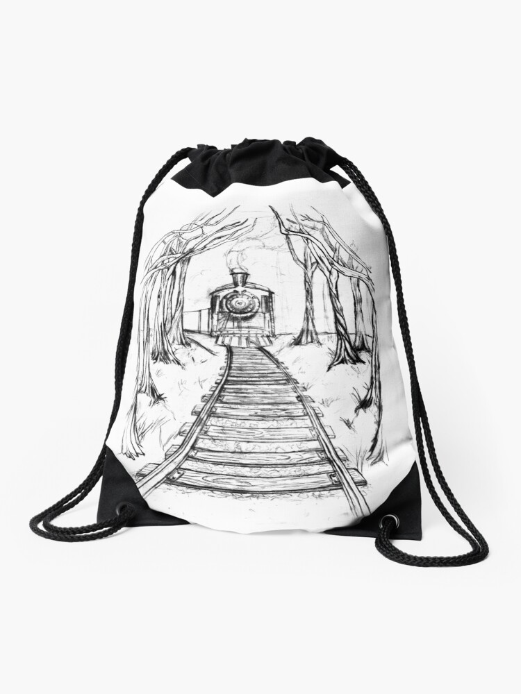 Wooden Railway , Pencil illustration railroad train tracks in woods, Black  & White drawing Landscape Nature Surreal Scene | Drawstring Bag