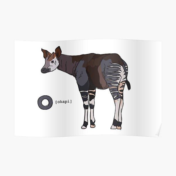 Funky Animal Alphabet: O is for Okapi Poster