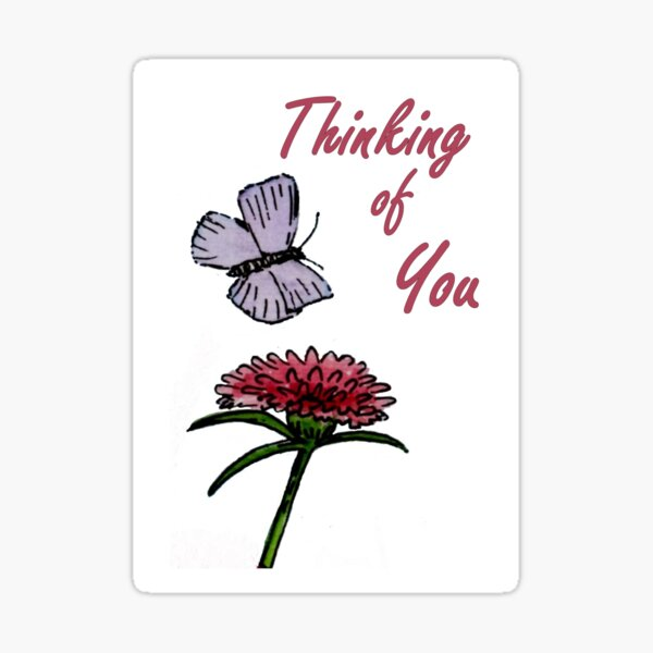 Purple and Red Friends - Thinking of You Card Sticker