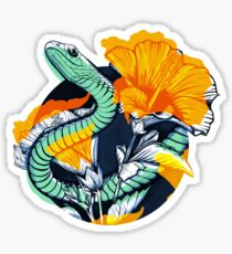 Tropical snake and flowers Sticker