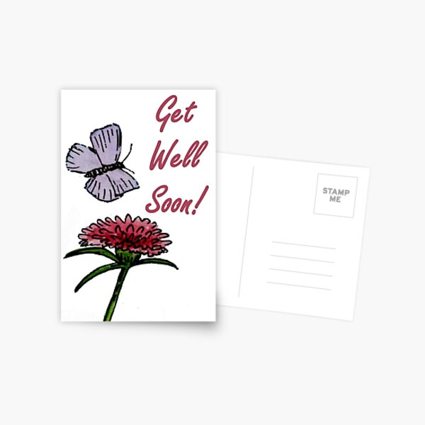 Purple and Red Friends - Get Well Soon Card Postcard