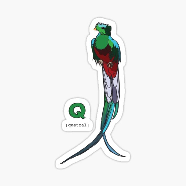 Funky Animal Alphabet: Q is for Quetzal Sticker