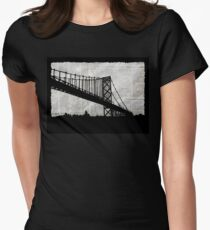 News Feed , Newspaper Bridge Collage, night cityscape cutout, black white city print illustration  Women's Fitted T-Shirt