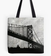 News Feed , Newspaper Bridge Collage, night cityscape cutout, black white city print illustration  Tote Bag