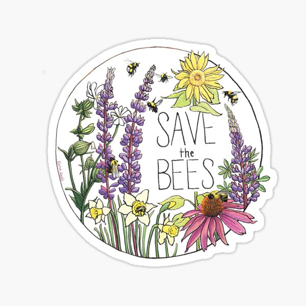 Save the Bees Circle Sticker