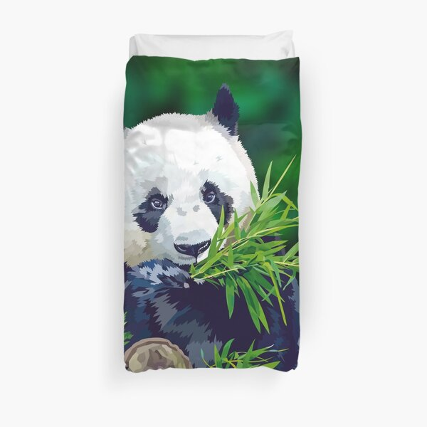 Panda Eating Bamboo Duvet Cover