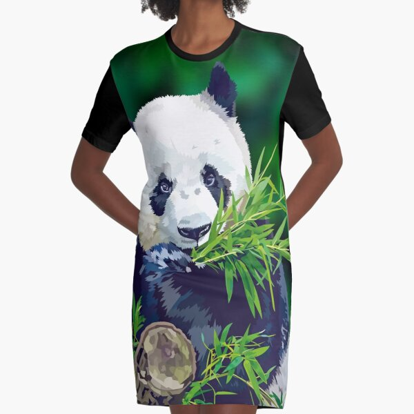 Panda Eating Bamboo Graphic T-Shirt Dress