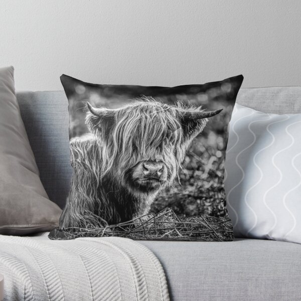 Highland Cow Black and White Throw Pillow