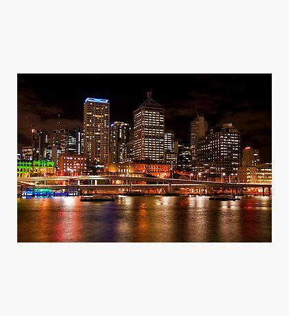 Brisbane City Night Lights Photographic Print