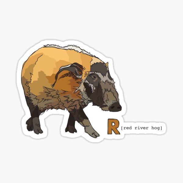 Funky Animal Alphabet: R is for Red River Hog Sticker
