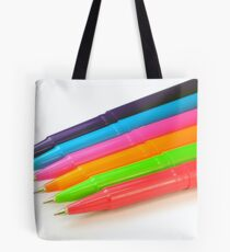 Multicolor pens on white background. Tote Bag