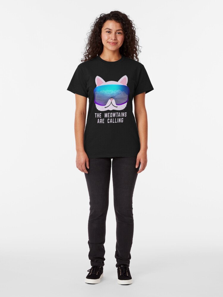 Alternate view of The Meowtains are calling Ski Cat Classic T-Shirt