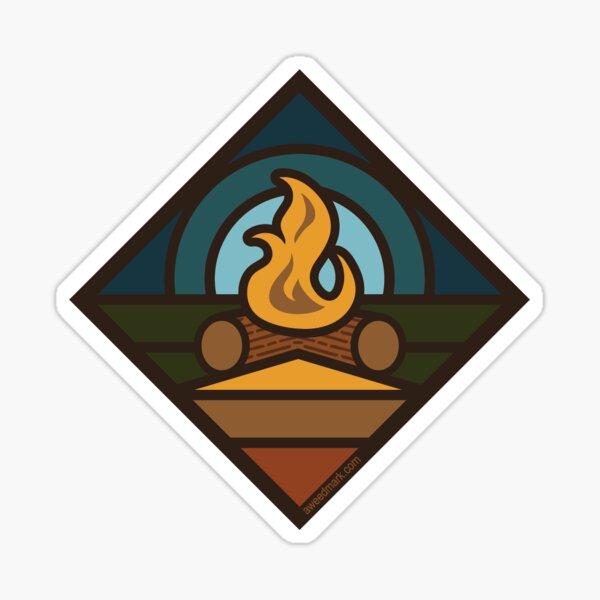Retro Camping Campfire Sticker