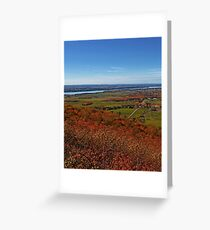Fields, Meadow. Rural Road & the Ottawa River in a Fall Autumn Landscape under a Blue Sky with Haze Greeting Card