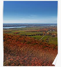 Fields, Meadow. Rural Road & the Ottawa River in a Fall Autumn Landscape under a Blue Sky with Haze Poster