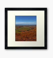 Fall Autumn Season ~ Brush & Orange Leaf Trees on a Hillside w/ Green Field, Meadow & Farmland Framed Print