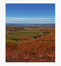 Fall Autumn Season ~ Brush & Orange Leaf Trees on a Hillside w/ Green Field, Meadow & Farmland Photographic Print