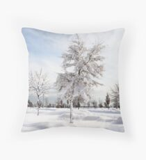Hugged by snow (colour) Throw Pillow
