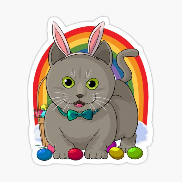 Russian Blue Cat Bunny Happy Easter Day Sticker