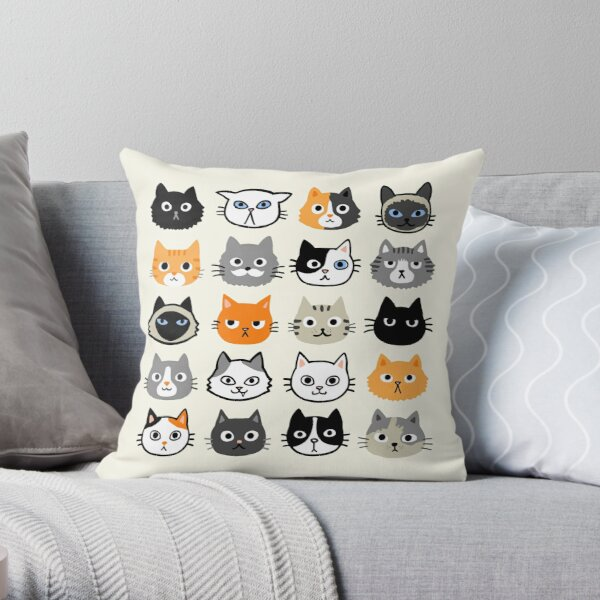Assorted Cat Faces   Cute Quirky Kitty Cat Drawings Throw Pillow