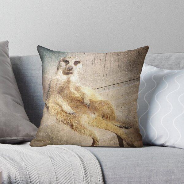 Funny Baby Meerkat Lounging, Grunge Throw Pillow