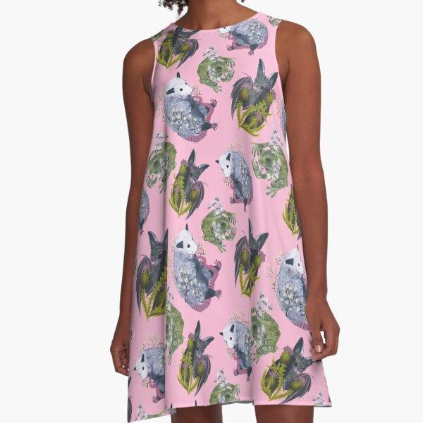 Blumen und Freunde A-Linien Kleid