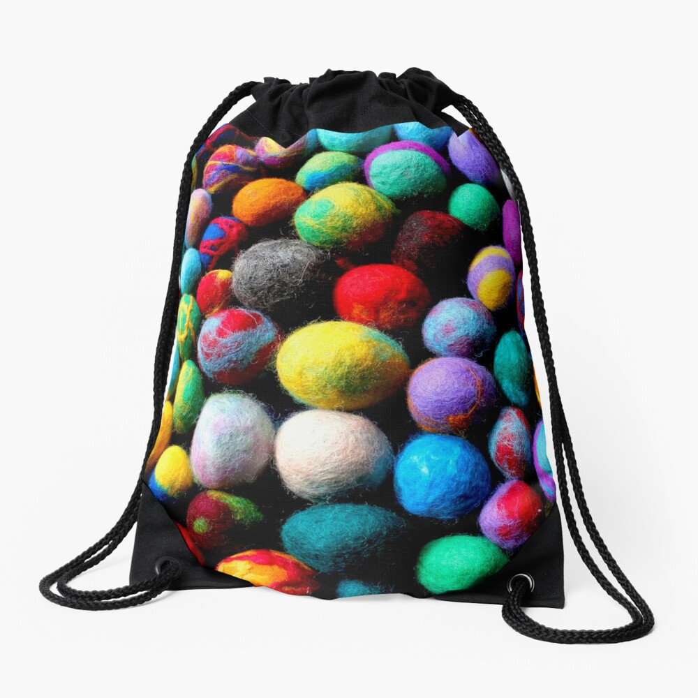 colorful felt balls felted with a school class Drawstring Bag